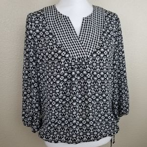 Laundry Black and White Printed Top Size Small